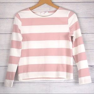 Elodie - White/Pink Stripe Long Sleeve - XS
